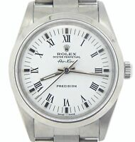 Rolex Air King Mens Stainless Steel Watch Oyster White Dial w/ Black Roman 14000