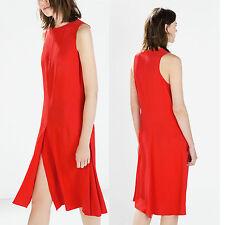 ZARA WOMEN STUDIO RED DRESS WITH PLEATED FLARED SKIRT SIZE XS