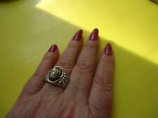 Men's Ladies Ring Shell Faux Pearl Gemstone Silver Plate 13.4 grams Size 9.0#R11
