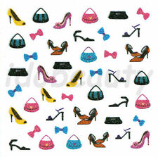 NAIL ART STICKER DECORATIONS COLOUR SHOE BOW BAG DESIGN FOR NAILS