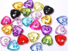 T251 Acrylic Multicolour Faceted Heart Beads DIY Jewellery Making 15mm 20pcs