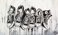 ALL STAR runners STREET ART GRAFITTI  COA painting ANDY BAKER canvas original