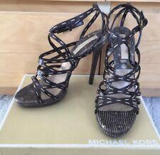 Michael Kors MK18221 Strappy Stiletto Cage Sandal Snake Stitching 10M 40 $995 A+