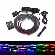 4pcs 12V RGB LED Strip Under Car Tube Underglow Underbody System Neon Light Kit