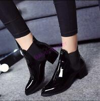 Women PU patent leather ankle boots low chunky pull on pointy toe high top shoes