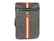 Auth GOYARD Trolley PM Black White Multi Coated Canvas Leather Suitcase