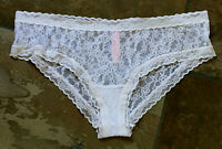 Victoria's Secret Large See Thru White Lace Hipster/Bikini Panties VTG #135 B