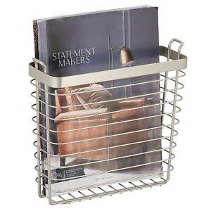 mDesign Metal Wire Wall Mount Magazine Holder, Storage Organizer Rack - Satin