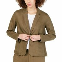 EILEEN FISHER Women's Olive Green Organic Linen Unlined Blazer Jacket Top M TEDO