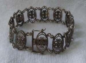 Antique Sterling Silver Filigree Marcasite Bracelet 7 3/4
