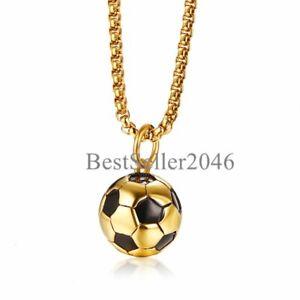 "Men Boys 3D Soccer Football Sports Charm Pendant Stainless Steel Necklace 24"""