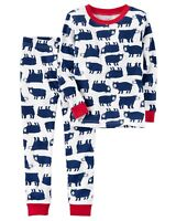 NEW Carter's Boys 2 Piece Bear Print Holiday Pajamas NWT 4T 4 Kid Year