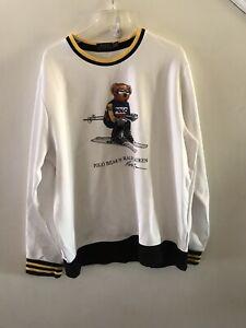 POLO RALPH LAUREN Men's XL White Polo Bear Skiing Sweatshirt, EUC