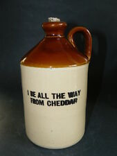 """""""I BE ALL THE WAY FROM CHEDDAR"""" Small Vintage Two Tone Stoneware Flagon"""