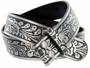 BELT - Grey/Black Western Flower Design Leather Snap On Mens Womens - NO BUCKLE