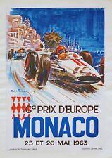 "Reproduction Vintage Monaco Grand Prix Poster, ""1963"", Wall Art"