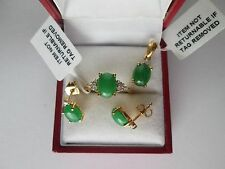 GENUINE JADE & ZIRCO STERLING SILVER GLD OVLAY SET RING PENDANT + EARRING SIZE M