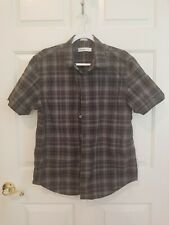 Calvin Klein Mens Black Button Down Short Sleeve Shirt Size Large