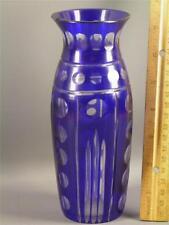 ANTIQUE BOHEMIAN CZECH BLUE CUT TO CLEAR GLASS VASE