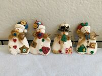 Set of (4) Resin/Clay Snowmen Ornaments Christmas Collectible Ornament