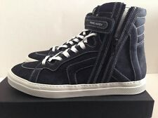 PIERRE HARDY DARK BLUE DENIM GABARDINE HIGH TOP SNEAKERS SIZE EU 44 US 11
