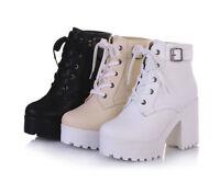 Punk Ladies Lace Up Buckle Strap Platform Block Heels Ankle Boots Shoes Rond Toe