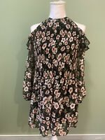 American Rag Cie Sheer Crinkle Floral Chiffon Cold Shoulder Dress Tunic Sz XXS