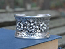 Handcrafted Woven Flower Statement Cuff Bracelet Ethnic Miao Silver bangle Gift