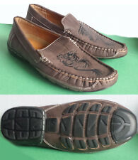 GoldenHorse men size 9 brown moccasins with dragon moc toe New
