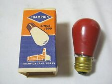 Champion 10 Watt Red vintage light bulb New Old Stock
