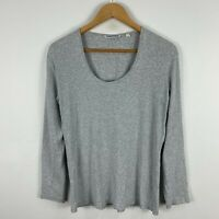 Country Road Womens Top XL Extra Large Grey Long Sleeve Scoop Neck