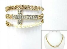 Gold Cross Chain Wrap Bracelet With Clear Rhinestones