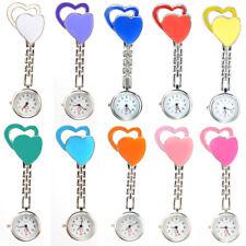Womens Love Double Heart Smile Nurse Brooch Fob Medical Pocket Quartz Watch New