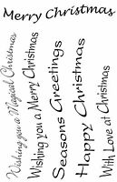 Wavy Christmas Sentiments Unmounted Rubber Stamps - SA6068
