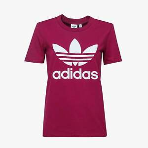 Adidas Women's Originals TREFOIL TEE Berry Authentic STRETCHY  Size 2 14