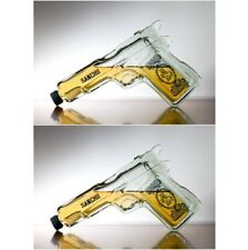 2 x Pistol Gun Shaped Glass Tequila Bottle liquor spirits handgun x 2