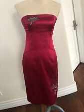 Karen millen Fuscia Wiggle Dress Spaghetti Straps, Knee Length Size 10UK/2-4 US