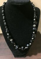 Vintage Black Glass Faceted Necklace Beaded Choker 18in Chunky Silvertone Beads