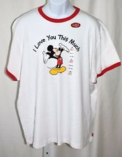 "Disney Mickey Mouse Red Ringer I Love You This Much White 2XL 54"" T Shirt NWT"