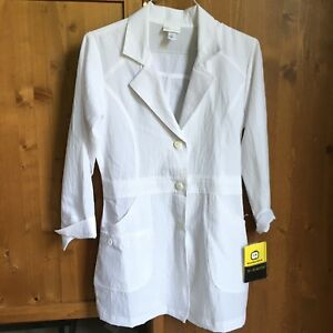 WONDER WINK Womens Small Stretch 3 Button Lab Jacket Coat #7004A White Polyester