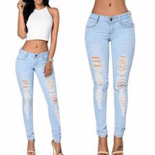 Denim Ripped Destroyed Jeans Pants Stretch Women Ladies Skinny Slim Trousers AU