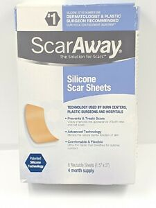 """ScarAway Silicone Scar Sheets, (1.5"""" x 3"""") 8 each - Exp: 05/2021+ 4 month supply"""