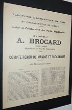 POLITIQUE LEGISLATIVES 1932 A. BROCARD COMPTE-RENDU DE MANDAT ET PROGRAMME