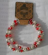 2 FACETED RED GLASS, TIBETAN SILVER BICONE & PEARL BEADED BRACELETS BNWT (098)