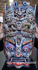 Wood Carved Hand-painted Dragon mahakala buddha facial makeup Mask Wall Hanging