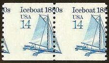 "2134 - 14c Scarce Misperf Error / EFO Pair ""Iceboat"" Transportation Series MNH"