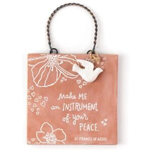 HALLMARK St Francis Engraved Clay Plaque ~ MAKE ME AN INSTRUMENT OF YOUR PEACE