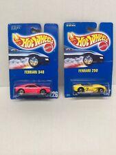 Hot Wheels '93 Blue Card Ferrari 348 Pink #226 & Ferrari 250 #117 Yellow
