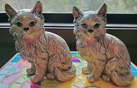 Vintage Mid Century 60s 70s Gray Cats Kittens Ceramic Figurines Figures Statues