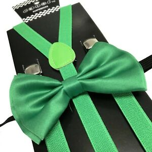 Green Slim Suspender and Bow Tie Set for Teenagers Adults Men Women (USA SELLER)